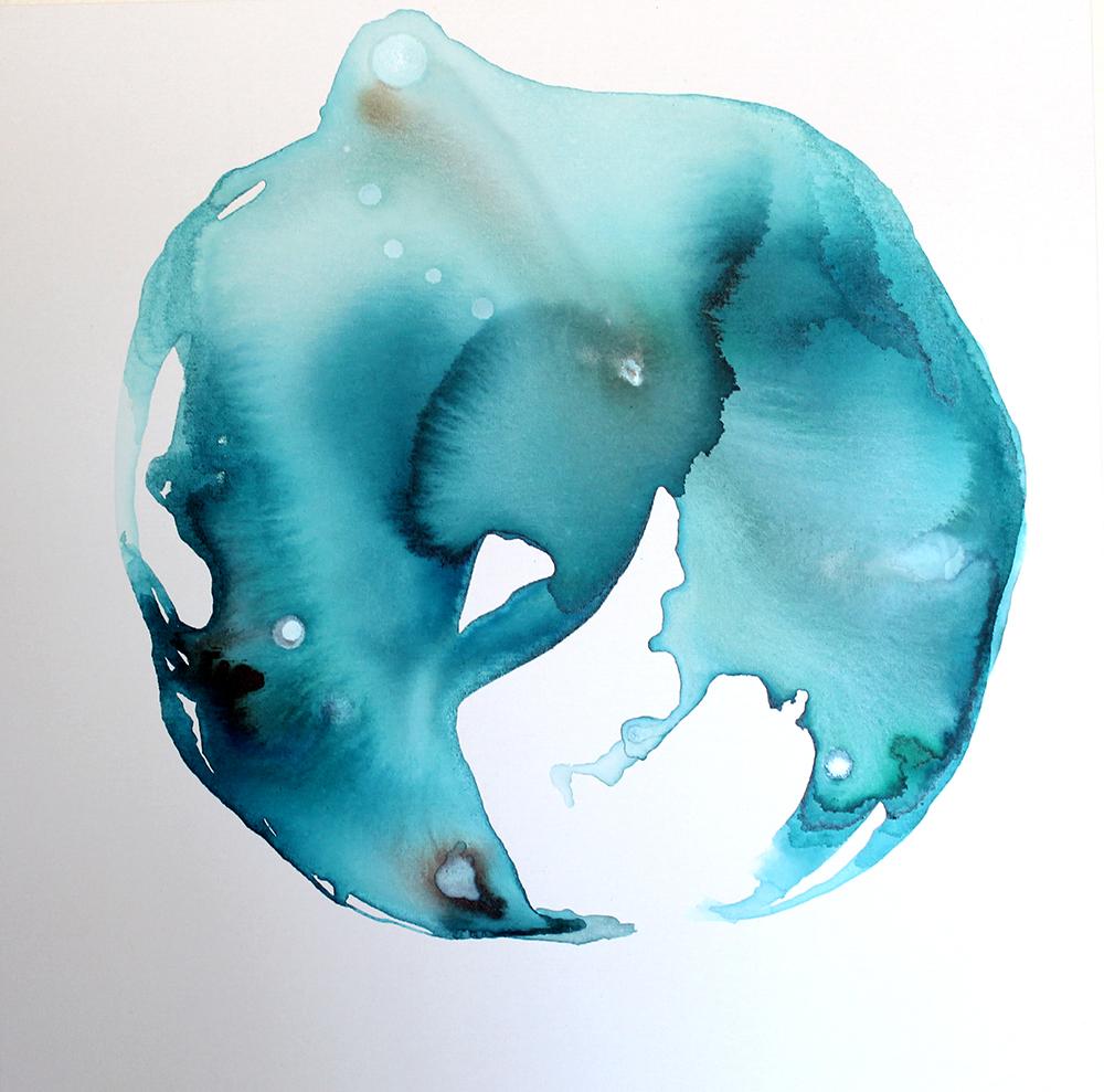 "Fluid by Jules Tillman, 2014 mixed media 30""x30"""