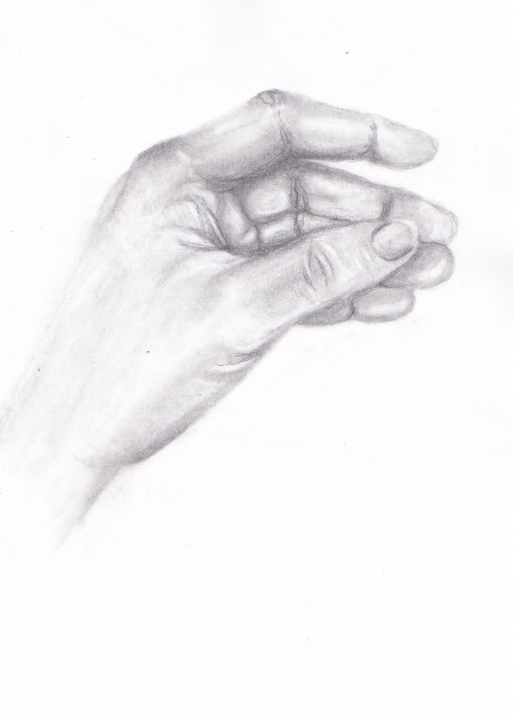 My hand by Jules Tillman. Pencil drawing 2007