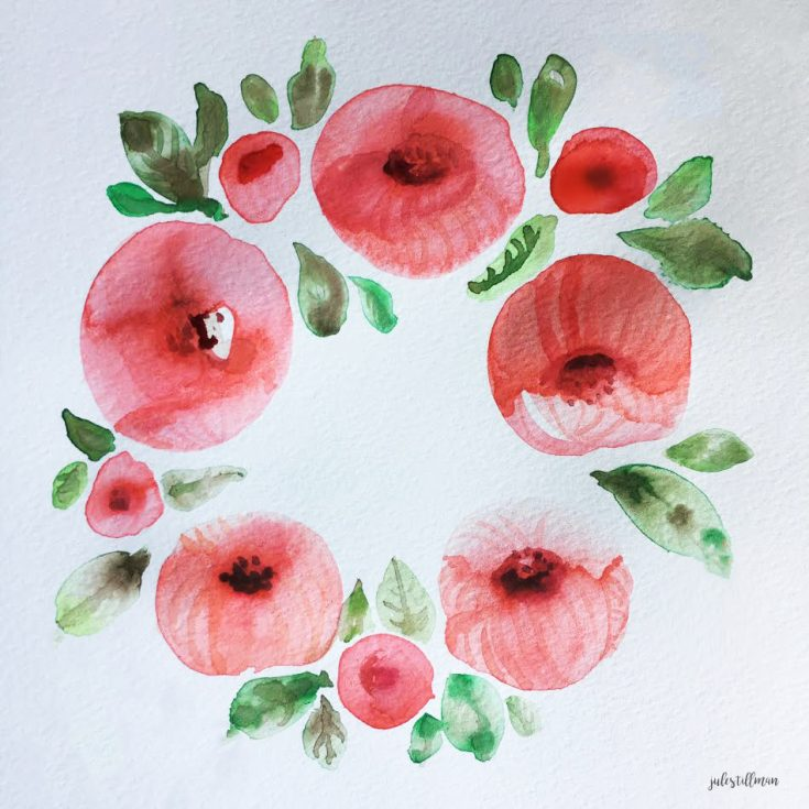 My project from the class: Wonderful Watercolor: Learn to Paint a Peony Wreath