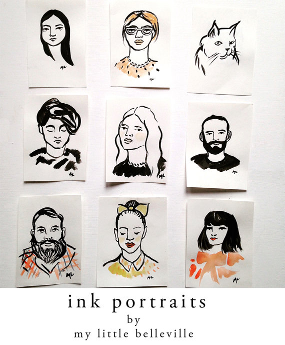 13 Black and white gift ideas from Etsy: Custom Ink Portraits from MyLittleBelleville