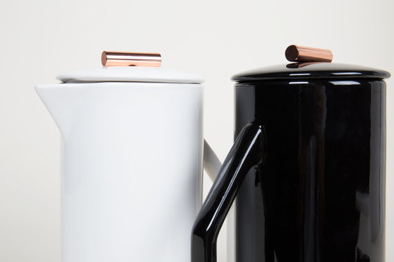 13 Black and white gift ideas from Etsy: 850 mL Ceramic French Press from YieldDesignCo