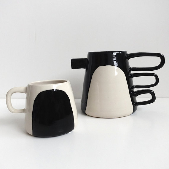13 Black and white gift ideas from Etsy: Contrast Pitcher and Mug Black and White Porcelain Pitcher from btwceramics