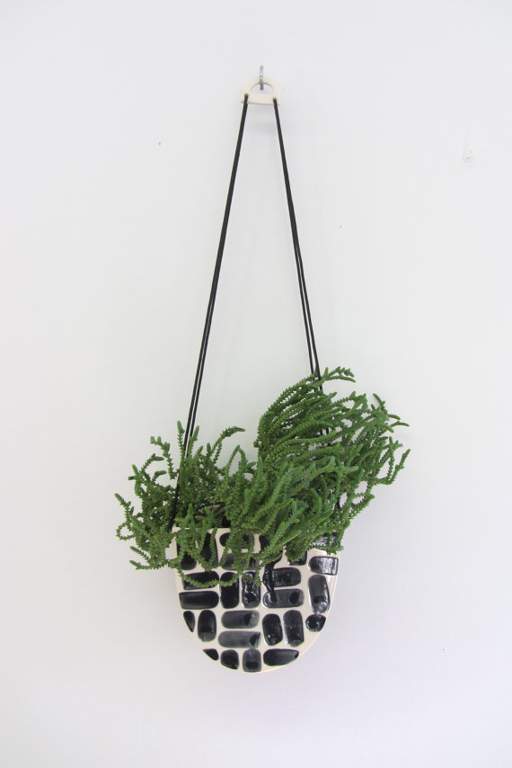 13 Black and white gift ideas from Etsy: Large Half Moon Hanging Planter in Brick from ebenotti