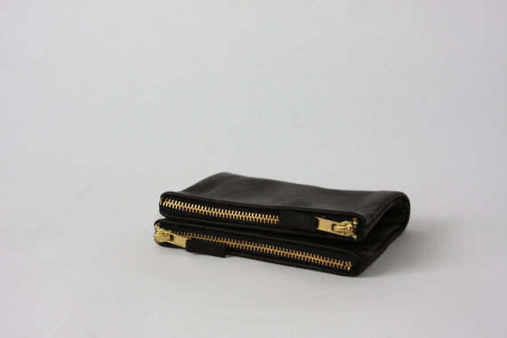13 Black and white gift ideas from Etsy: Black Double Wallet from elevenelephant