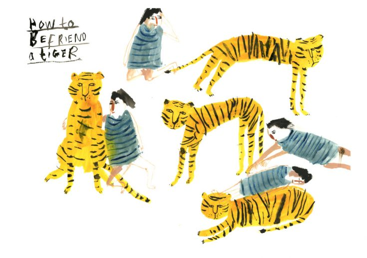 "Illustrations You'll Love to Gift or Get : ""How to Befriend a Tiger"" by FayeMoorhouse on Etsy."