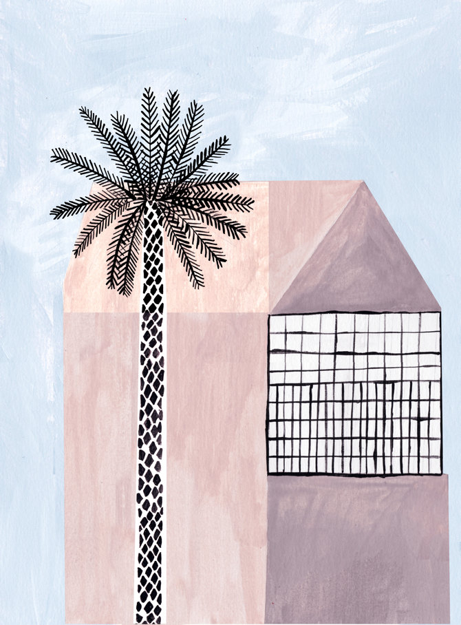 "Illustrations You'll Love to Gift or Get: ""Pink House & Palm Tree"" by afrois on Etsy."