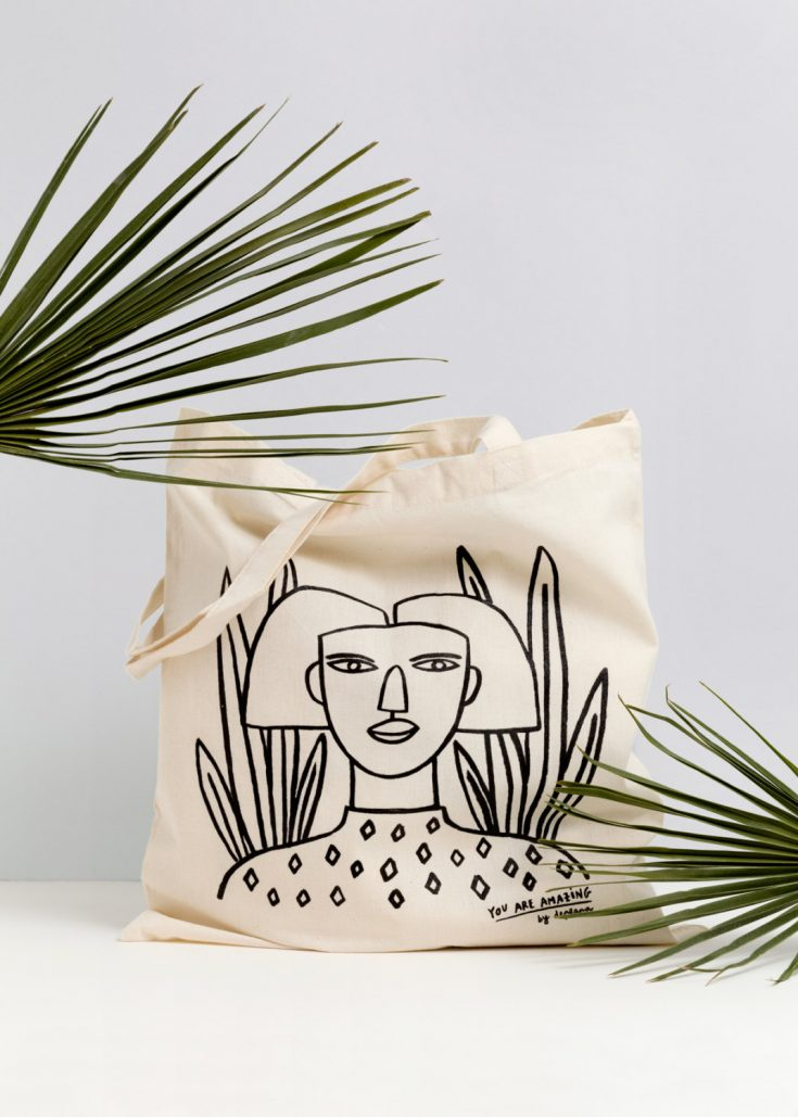 "Illustrations You'll Love to Gift or Get: ""Afro Girl"" tote bag from depeapa on Etsy."