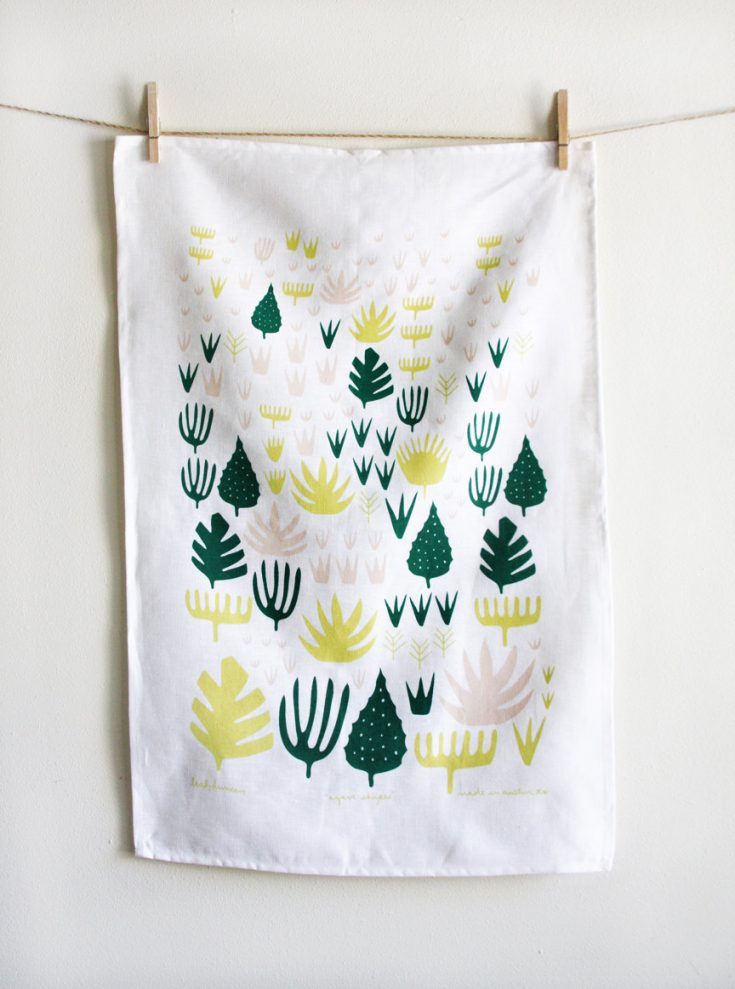 "Illustrations You'll Love to Gift or Get : ""Agave Shapes"" tea towel by leahduncan on Etsy."